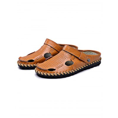 Fashion Breathable Leather Men Leisure SlippersMens Slippers<br>Fashion Breathable Leather Men Leisure Slippers<br><br>Contents: 1 x Pair of Slippers<br>Materials: Leather, Rubber<br>Occasion: Casual<br>Package Size ( L x W x H ): 35.00 x 24.00 x 13.00 cm / 13.78 x 9.45 x 5.12 inches<br>Package Weights: 0.870kg<br>Seasons: Autumn,Spring,Summer<br>Style: Leisure, Fashion, Comfortable<br>Type: Slippers