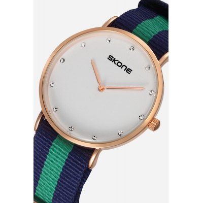 Skone 6167G Stylish Diamonds Nylon Belt Men Quartz WatchMens Watches<br>Skone 6167G Stylish Diamonds Nylon Belt Men Quartz Watch<br><br>Band material: Nylon<br>Band size: 23cm x 2cm<br>Brand: Skone<br>Case material: Alloy<br>Clasp type: Pin buckle<br>Dial size: 3.2cm x 3.2cm x 0.6cm<br>Display type: Analog<br>Movement type: Quartz watch<br>Package Contents: 1 x Watch ( with Package Box )<br>Package size (L x W x H): 10.15 x 7.50 x 6.55 cm / 4 x 2.95 x 2.58 inches<br>Package weight: 0.1210 kg<br>Product size (L x W x H): 23.00 x 3.20 x 0.60 cm / 9.06 x 1.26 x 0.24 inches<br>Product weight: 0.0370 kg<br>Shape of the dial: Round<br>Watch color: Blue and green<br>Watch mirror: Mineral glass<br>Watch style: Cool, Fashion, Business, Casual<br>Watches categories: Male table,Men<br>Water resistance : Life water resistant<br>Wearable length: 12 - 20cm