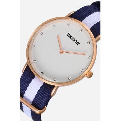 Skone 6167G Stylish Diamonds Nylon Belt Men Quartz WatchMens Watches<br>Skone 6167G Stylish Diamonds Nylon Belt Men Quartz Watch<br><br>Band material: Nylon<br>Band size: 23cm x 2cm<br>Brand: Skone<br>Case material: Alloy<br>Clasp type: Pin buckle<br>Dial size: 3.2cm x 3.2cm x 0.6cm<br>Display type: Analog<br>Movement type: Quartz watch<br>Package Contents: 1 x Watch ( with Package Box )<br>Package size (L x W x H): 10.15 x 7.50 x 6.55 cm / 4 x 2.95 x 2.58 inches<br>Package weight: 0.1210 kg<br>Product size (L x W x H): 23.00 x 3.20 x 0.60 cm / 9.06 x 1.26 x 0.24 inches<br>Product weight: 0.0370 kg<br>Shape of the dial: Round<br>Watch color: White<br>Watch mirror: Mineral glass<br>Watch style: Cool, Fashion, Business, Casual<br>Watches categories: Male table,Men<br>Water resistance : Life water resistant<br>Wearable length: 12 - 20cm
