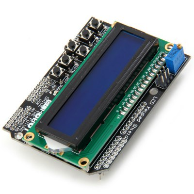 LCD1602 Character LCD Keypad Shield V1.0 for Arduino DIY ProjectsLCD,LED Display Module<br>LCD1602 Character LCD Keypad Shield V1.0 for Arduino DIY Projects<br><br>Mainly Compatible with: Ardunio<br>Package Contents: 1 x LCD1602 Character LCD Keypad Shield<br>Package Size(L x W x H): 14.00 x 8.70 x 2.00 cm / 5.51 x 3.43 x 0.79 inches<br>Package weight: 0.0740 kg<br>Product Size(L x W x H): 8.00 x 5.80 x 1.80 cm / 3.15 x 2.28 x 0.71 inches<br>Product weight: 0.0520 kg<br>Screen size: 1.4 inch<br>Screen type: LCD<br>Type: LCD1602 Character LCD Keypad Shield