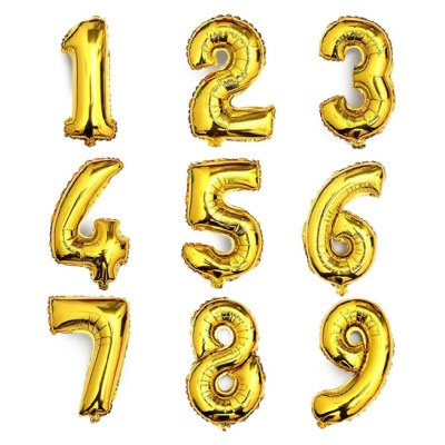9PCS Number Air-filled Helium Balloons