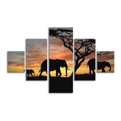 5PCS Elephants Pattern Canvas Removable Wallpaper Wall Sticker