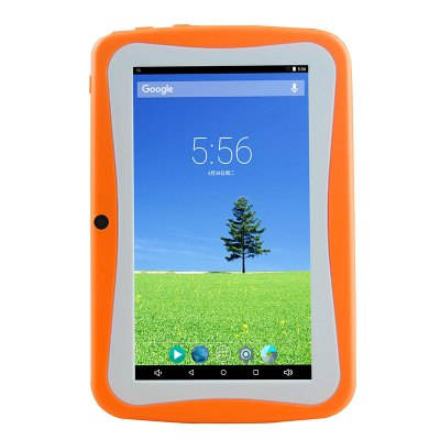 Veidoo V88K - A4F Kids Tablet PCTablet PCs<br>Veidoo V88K - A4F Kids Tablet PC<br><br>3.5mm Headphone Jack: Yes<br>AC adapter: 110-240V 5V 2A<br>Additional Features: WiFi, GPS, Browser, Bluetooth, OTA, MP4, MP3, OTG, Alarm, Gravity Sensing System<br>Back camera: 2.0MP<br>Battery Capacity: 3.7V / 2500mAh<br>Bluetooth: Yes<br>Brand: Veidoo<br>Camera type: Dual cameras (one front one back)<br>Core: Quad Core, 1.5GHz<br>CPU: A33<br>CPU Brand: All Winner<br>DC Jack: Yes<br>E-book format: TXT<br>English Manual : 1<br>External Memory: TF card up to 32GB (not included)<br>Front camera: 0.3MP<br>G-sensor: Supported<br>Google Play Store: Yes<br>GPS: Yes<br>GPU: Mali-400<br>Languages support : Android OS Supports multi-language<br>Material of back cover: Plastic<br>Micro USB Slot: Yes<br>Music format: AAC, WAV, MP3, OGG<br>OS: Android 4.4<br>OTG Cable: 1<br>Package size: 25.00 x 17.00 x 7.00 cm / 9.84 x 6.69 x 2.76 inches<br>Package weight: 1.5300 kg<br>Picture format: PNG, BMP, GIF, JPEG<br>Power Adapter: 1<br>Product size: 18.60 x 12.10 x 0.80 cm / 7.32 x 4.76 x 0.31 inches<br>Product weight: 0.5200 kg<br>RAM: 512MB<br>ROM: 8GB<br>Screen resolution: 1024 x 600 (WSVGA)<br>Screen size: 7 inch<br>Screen type: Capacitive, TN<br>Skype: Supported<br>Speaker: Supported<br>Support Network: WiFi<br>Tablet PC: 1<br>TF card slot: Yes<br>Type: Kids Tablet<br>USB Cable: 1<br>Video format: AVI, 3GP, H.265, H.264, MP4<br>WIFI: 802.11b/g/n wireless internet<br>Youtube: Supported