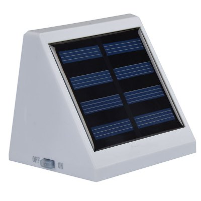 Solar Powered 4 LEDs Light Controlled LED Wall LampOutdoor Lights<br>Solar Powered 4 LEDs Light Controlled LED Wall Lamp<br><br>Battery Capacity: AA 1.2V 900mA Ni-MH battery<br>Battery Voltage: 1.2V<br>Charging Time: 8 hours<br>Features: Light Control<br>Light Type: Outdoor Light,Solar Light<br>Luminous Flux: 24LM<br>Material: ABS<br>Optional Light Color: Green,Red,White,Yellow<br>Package Contents: 1 x Solar Powered Wall Light<br>Package size (L x W x H): 10.00 x 8.50 x 8.00 cm / 3.94 x 3.35 x 3.15 inches<br>Package weight: 0.1400 kg<br>Powered Source: Solar and Battery<br>Product size (L x W x H): 9.50 x 8.00 x 7.50 cm / 3.74 x 3.15 x 2.95 inches<br>Product weight: 0.1200 kg<br>Sensing Angle / Distance: 5m<br>Solar Panel : poly-silicon 2V / 130mAh 0.26W<br>Total LED: 4<br>Working Time: 8 hours
