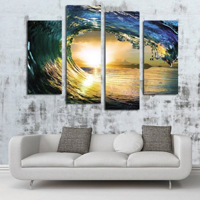 4PCS Sea Wave Sun Pattern Canvas Removable Wallpaper Wall Sticker