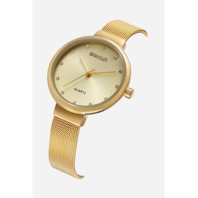 WEIQIN W4843 Quartz WatchWomens Watches<br>WEIQIN W4843 Quartz Watch<br><br>Band material: Steel<br>Band size: 22.5cm x 1.2cm<br>Brand: Weiqin<br>Case material: Alloy<br>Clasp type: Hook buckle<br>Dial size: 3.4cm x 3.4cm x 0.6cm<br>Display type: Analog<br>Movement type: Quartz watch<br>Package Contents: 1 x Watch ( with Package Box )<br>Package size (L x W x H): 9.10 x 9.10 x 6.50 cm / 3.58 x 3.58 x 2.56 inches<br>Package weight: 0.1260 kg<br>Product size (L x W x H): 22.50 x 3.40 x 0.60 cm / 8.86 x 1.34 x 0.24 inches<br>Product weight: 0.0390 kg<br>Shape of the dial: Round<br>Watch color: Gold<br>Watch mirror: Mineral glass<br>Watch style: Fashion, Business, Casual, Classic<br>Watches categories: Female table,Women<br>Water resistance : Life water resistant