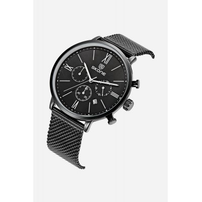 Skone 7391 Quartz Men WatchMens Watches<br>Skone 7391 Quartz Men Watch<br><br>Band material: Steel<br>Band size: 24.2cm x 2cm<br>Brand: Skone<br>Case material: Alloy<br>Clasp type: Hook buckle<br>Dial size: 4.3cm x 4.7cm x 0.9cm<br>Display type: Analog<br>Movement type: Quartz watch<br>Package Contents: 1 x Watch ( with Package Box )<br>Package size (L x W x H): 10.15 x 7.50 x 6.55 cm / 4 x 2.95 x 2.58 inches<br>Package weight: 0.1700 kg<br>Product size (L x W x H): 24.20 x 4.70 x 0.90 cm / 9.53 x 1.85 x 0.35 inches<br>Product weight: 0.0860 kg<br>Shape of the dial: Round<br>Watch color: Black<br>Watch style: Cool, Fashion, Business, Casual<br>Watches categories: Male table,Men<br>Water resistance : Life water resistant