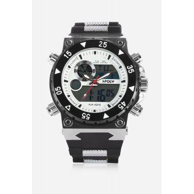 HPOLW 627 Stylish Analog-digital WatchMens Watches<br>HPOLW 627 Stylish Analog-digital Watch<br><br>Available Color: Black,Blue,Red,White<br>Band material: Silicone<br>Band size: 20cm x 2.5cm<br>Brand: HPOLW<br>Case material: Alloy<br>Clasp type: Pin buckle<br>Dial size: 4.5cm x 4.5cm<br>Display type: Analog-Digital<br>Movement type: Double-movtz<br>Package Contents: 1 x Watch<br>Package size (L x W x H): 28.00 x 6.50 x 3.00 cm / 11.02 x 2.56 x 1.18 inches<br>Package weight: 0.1820 kg<br>Product size (L x W x H): 26.50 x 4.50 x 1.70 cm / 10.43 x 1.77 x 0.67 inches<br>Product weight: 0.1610 kg<br>Shape of the dial: Round<br>Special features: Stopwatch, Date, Alarm Clock<br>Watch color: White<br>Watch mirror: Mineral glass<br>Watch style: Business, Casual, Cool, Fashion<br>Watches categories: Male table,Men