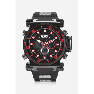 HPOLW 602 Analog-digital WatchMens Watches<br>HPOLW 602 Analog-digital Watch<br><br>Band material: Silicone<br>Band size: 20cm x 2.5cm<br>Brand: HPOLW<br>Case material: Alloy<br>Clasp type: Pin buckle<br>Dial size: 4.5cm x 4.5cm<br>Display type: Analog-Digital<br>Movement type: Double-movtz<br>Package Contents: 1 x Watch ( with Package Box )<br>Package size (L x W x H): 26.00 x 6.50 x 2.60 cm / 10.24 x 2.56 x 1.02 inches<br>Package weight: 0.1860 kg<br>Product size (L x W x H): 25.00 x 4.50 x 1.60 cm / 9.84 x 1.77 x 0.63 inches<br>Product weight: 0.1650 kg<br>Shape of the dial: Round<br>Special features: Stopwatch, Day, Date, Alarm Clock<br>Watch color: Red<br>Watch mirror: Mineral glass<br>Watch style: Business, Fashion, Cool, Casual<br>Watches categories: Male table,Men