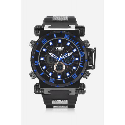 HPOLW 602 Analog-digital WatchMens Watches<br>HPOLW 602 Analog-digital Watch<br><br>Band material: Silicone<br>Band size: 20cm x 2.5cm<br>Brand: HPOLW<br>Case material: Alloy<br>Clasp type: Pin buckle<br>Dial size: 4.5cm x 4.5cm<br>Display type: Analog-Digital<br>Movement type: Double-movtz<br>Package Contents: 1 x Watch ( with Package Box )<br>Package size (L x W x H): 26.00 x 6.50 x 2.60 cm / 10.24 x 2.56 x 1.02 inches<br>Package weight: 0.1860 kg<br>Product size (L x W x H): 25.00 x 4.50 x 1.60 cm / 9.84 x 1.77 x 0.63 inches<br>Product weight: 0.1650 kg<br>Shape of the dial: Round<br>Special features: Stopwatch, Day, Date, Alarm Clock<br>Watch color: Blue<br>Watch mirror: Mineral glass<br>Watch style: Business, Fashion, Cool, Casual<br>Watches categories: Male table,Men