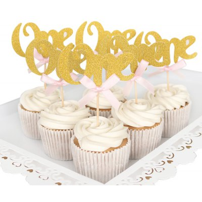 15PCS Gold Sparkly Shiny Cake Cupcake Toppers Card