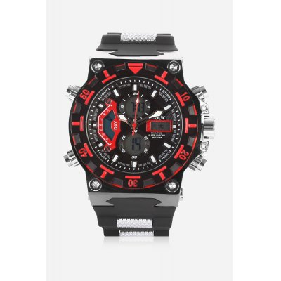 HPOLW 628 Analog-digital WatchMens Watches<br>HPOLW 628 Analog-digital Watch<br><br>Band material: Silicone<br>Band size: 18cm x 2cm<br>Brand: HPOLW<br>Case material: Alloy<br>Clasp type: Pin buckle<br>Dial size: 4.5cm x 4.5cm<br>Display type: Analog-Digital<br>Movement type: Double-movtz<br>Package Contents: 1 x Watch ( with Package Box )<br>Package size (L x W x H): 28.00 x 7.00 x 2.50 cm / 11.02 x 2.76 x 0.98 inches<br>Package weight: 0.1790 kg<br>Product size (L x W x H): 27.00 x 4.50 x 1.50 cm / 10.63 x 1.77 x 0.59 inches<br>Product weight: 0.1580 kg<br>Shape of the dial: Round<br>Special features: Stopwatch, Day, Date, Alarm Clock<br>Watch color: Red<br>Watch mirror: Mineral glass<br>Watch style: Business, Fashion, Cool, Casual<br>Watches categories: Male table,Men