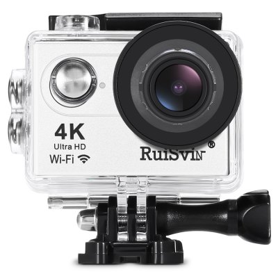 RUISVIN H9RS 4K UHD WiFi Action Camera Allwinner V3 ChipsetAction Cameras<br>RUISVIN H9RS 4K UHD WiFi Action Camera Allwinner V3 Chipset<br><br>Aerial Photography: No<br>Anti-shake: No<br>Application: Extreme Sports, Underwater, Ski<br>Auto Focusing: No<br>Battery Capacity (mAh): 900mAh<br>Battery Type: Removable<br>Brand Name: RUISVIN<br>Camera Timer: Yes<br>Charge way: USB charge by PC<br>Charging Time: 3h<br>Chipset: Allwinner V3<br>Chipset Name: Allwinner<br>Features: Wireless<br>Function: Camera Timer, Remote Control, Waterproof, WiFi<br>Image Format : JPG<br>Max External Card Supported: TF 64G (not included)<br>Microphone: Built-in<br>Model: H9RS<br>Night vision : No<br>Package Contents: 1 x 4K Action Camera, 1 x Waterproof Housing + Screw + Mount, 1 x Clip, 1 x Frame, 1 x Bicycle Mount, 1 x J-shaped Mount, 3 x Connector + Screw, 1 x Tripod Adapter + Tripod Mount Adapter, 2 x Mount, 4<br>Package size (L x W x H): 22.50 x 14.50 x 7.50 cm / 8.86 x 5.71 x 2.95 inches<br>Package weight: 0.6770 kg<br>Product size (L x W x H): 5.90 x 4.10 x 2.80 cm / 2.32 x 1.61 x 1.1 inches<br>Product weight: 0.0570 kg<br>Screen: With Screen<br>Screen resolution: 640 x 320<br>Screen size: 2.0inch<br>Standby time: 24h<br>Type: Sports Camera<br>Type of Camera: 4K<br>Video format: MP4<br>Video Frame Rate: 120fps,30FPS,60FPS<br>Video Resolution: 1080P(30fps),1080P(60fps),2.7K (30fps),4K (30fps),720P (120fps),720P (30fps),720P (60fps)<br>Water Resistant: 30m ( with waterproof case )<br>Waterproof: Yes<br>Waterproof Rating : IP68 ( with waterproof case )<br>Wide Angle: 170 degree wide angle<br>WIFI: Yes<br>WiFi Distance : 10m<br>Working Time: 1.5h