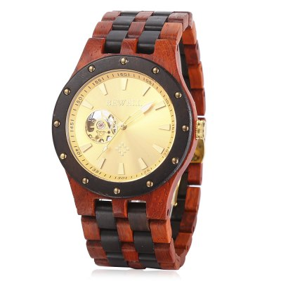 BEWELL ZS - W131A Wooden Men  Auto Mechanical Watch