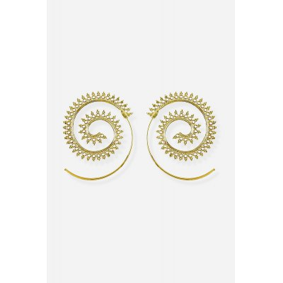 Ethnic Style Spiral Ear Drops EarringsEarrings<br>Ethnic Style Spiral Ear Drops Earrings<br><br>Fabric: Alloy<br>Package Contents: 1 x Pair of Eardrops, 1 x Gift Box<br>Package size (L x W x H): 5.00 x 8.40 x 2.40 cm / 1.97 x 3.31 x 0.94 inches<br>Package weight: 0.0250 kg<br>Product weight: 0.0080 kg<br>Style: Fashion<br>Type: Earrings