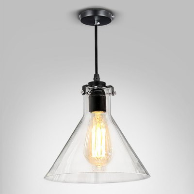 Stem Mounted Pendant Lamp Fixture with Glass Shade