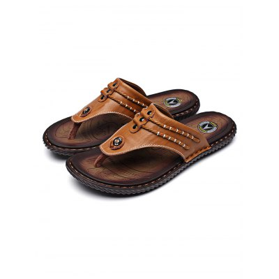 Street Fashion Cowhide Men Flip FlopsMens Slippers<br>Street Fashion Cowhide Men Flip Flops<br><br>Contents: 1 x Pair of Flip Flops<br>Materials: Leather, Rubber<br>Occasion: Casual<br>Package Size ( L x W x H ): 33.00 x 22.00 x 11.00 cm / 12.99 x 8.66 x 4.33 inches<br>Package Weights: 0.770kg<br>Seasons: Autumn,Spring,Summer<br>Style: Leisure, Fashion, Comfortable<br>Type: Slippers