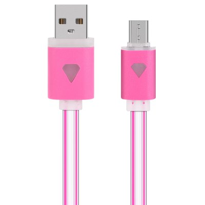 1m LED Visible Light Micro USB Cable Flat Charging Line
