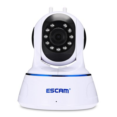 ESCAM QF003 1080P WiFi IP CameraIP Cameras<br>ESCAM QF003 1080P WiFi IP Camera<br><br>Alarm Notice: Email Photo<br>APP: XMEYE<br>Audio Input: Built-in mic.<br>Audio Output: Built-in speaker<br>Backlight Compensation: Auto<br>Brand: ESCAM<br>Compatible Operation Systems: Windows 7,Windows 8,Windows Vista<br>Environment: Indoor<br>FOV: 62 degree<br>Frame Rate (FPS): 25fps<br>Image Adjustment: Brightness,Color saturation,Contrast<br>Infrared Distance: 5 - 10m<br>Infrared LED: 11pcs LEDs<br>IP camera performance: Interphone, Screenshot, Night Vision, Motion Detection<br>IP Mode : Dynamic IP address<br>Language: Chinese,English<br>Local-storage: Micro SD card up to 64GB<br>Maximum Monitoring Range: 10m<br>Minimum Illumination: Color: 0.1Lux, B/W: 0.01Lux<br>Mobile Access: Android,IOS<br>Model: QF003<br>Motion Detection Distance: 5m<br>Network Port: RJ-45<br>Operate Temperature (?): -10 - 50 Deg.C<br>Package Contents: 1 x IP Camera ( with Dual Antenna ), 1 x Power Adapter, 1 x 111cm Power Cable, 1 x Holder Stand, 2 x Screw, 2 x Screw Cap, 1 x Card Pin, 1 x English User Manual<br>Package size (L x W x H): 20.50 x 13.50 x 16.00 cm / 8.07 x 5.31 x 6.3 inches<br>Package weight: 0.5790 kg<br>Pan/Tilt-Horizontal Angle (degree) : 355 degree<br>Pan/Tilt-Vertical Angle (degree) : 120 degree<br>Product size (L x W x H): 13.50 x 10.50 x 13.50 cm / 5.31 x 4.13 x 5.31 inches<br>Product weight: 0.2970 kg<br>Protocol: DDNS,DHCP,DNS,HTTP,NTP,ONVIF,P2P,RTSP<br>Resolution: 1920 ? 1080<br>Safety: Administrator password protection<br>Sensor: CMOS<br>Shape: Spherical Camera<br>Technical Feature: Pan/Tilt/Zoom, Infrared<br>Video Resolution: 1080P<br>Video Standard: NTSC,PAL<br>Waterproof: No<br>Web Browser: IE<br>White Balance: Auto<br>WiFi Distance : 15m<br>Wireless: WiFi 802.11 b/g/n<br>Working Humidity (%) RH: 10 - 90pct<br>Working Voltage: 5V