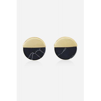 Fashion Round Wafer Splicing Earrings