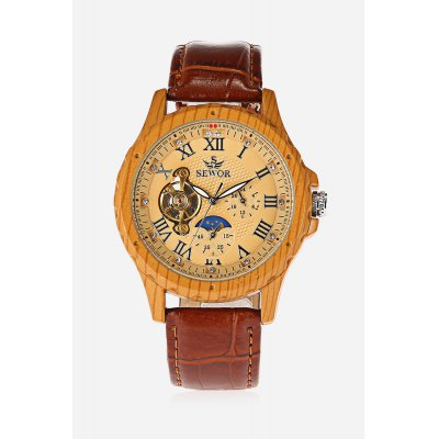 SEWOR 201703 Mechanical WatchMens Watches<br>SEWOR 201703 Mechanical Watch<br><br>Band material: Genuine Leather<br>Band size: 25 x 2cm<br>Brand: Sewor<br>Case material: Wood<br>Clasp type: Pin buckle<br>Dial size: 4.1 x 4.1 x 1.5cm<br>Display type: Analog<br>Movement type: Automatic mechanical watch<br>Package Contents: 1 x Watch<br>Package size (L x W x H): 13.00 x 6.00 x 2.00 cm / 5.12 x 2.36 x 0.79 inches<br>Package weight: 0.1100 kg<br>Product size (L x W x H): 25.00 x 4.10 x 1.50 cm / 9.84 x 1.61 x 0.59 inches<br>Product weight: 0.0780 kg<br>Shape of the dial: Round<br>Special features: Luminous, Phases of the moon<br>Watch style: Hollow-out<br>Watches categories: Men<br>Water resistance : Life water resistant<br>Wearable length: 19.5 - 23.5cm