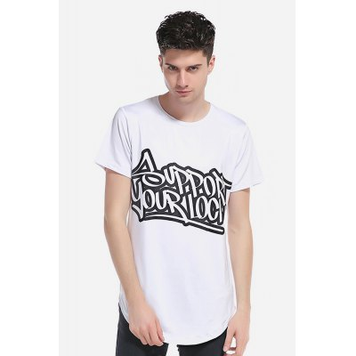 WHATLEES Letter Men White T Shirts