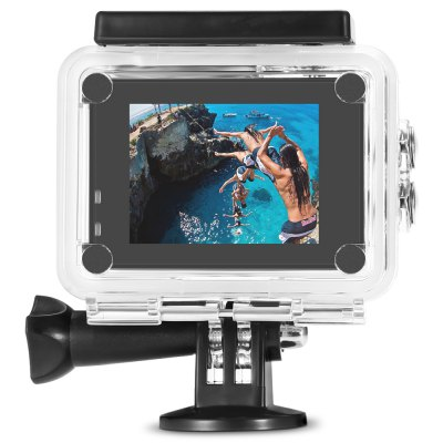 F60 4K 30fps 16MP WiFi Action Sports CameraAction Cameras<br>F60 4K 30fps 16MP WiFi Action Sports Camera<br><br>Aerial Photography: No<br>Anti-shake: No<br>Application: Underwater, Extreme Sports<br>Auto Focusing: No<br>Battery Capacity (mAh): 900mAh<br>Battery Type: Removable<br>Camera Pixel : 16MP<br>Camera Timer: Yes<br>Charge way: USB charge by PC<br>Charging Time: 3h<br>Chipset: Allwinner V3<br>Chipset Name: Allwinner<br>Features: Mini, Wireless<br>Function: Loop-cycle Recording, Waterproof, Time Lapse, WiFi<br>Image Format : JPG<br>Lens Diameter: 17.5mm<br>Loop-cycle Recording : Yes<br>Max External Card Supported: TF 64G (not included)<br>Model: F60<br>Night vision : No<br>Package Contents: 1 x 4K WiFi Sports Camera, 1 x Waterproof Case + Screw, 1 x Frame, 1 x Clip, 1 x Adapter + Screw, 1 x USB Cable, 1 x English User Manual<br>Package size (L x W x H): 12.50 x 10.00 x 7.00 cm / 4.92 x 3.94 x 2.76 inches<br>Package weight: 0.2860 kg<br>Product size (L x W x H): 5.90 x 4.00 x 2.80 cm / 2.32 x 1.57 x 1.1 inches<br>Product weight: 0.0550 kg<br>Screen: With Screen<br>Screen resolution: 320x240<br>Screen size: 2.0inch<br>Screen type: LCD<br>Standby time: 200h<br>Time lapse: Yes<br>Type: Sports Camera<br>Type of Camera: 4K<br>Video format: MP4<br>Video Frame Rate: 30FPS<br>Video Resolution: 4K (30fps)<br>Water Resistant: 40m ( with waterproof case )<br>Waterproof: Yes<br>Wide Angle: 170 degree wide angle<br>WIFI: Yes<br>WiFi Distance : 10m<br>Working Time: 60 minutes