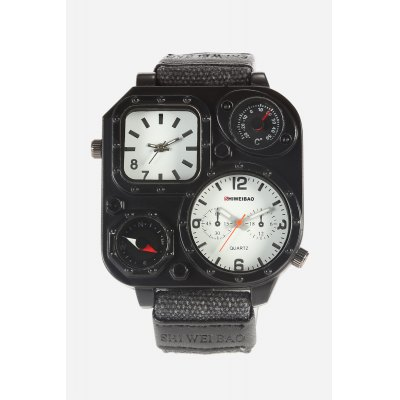 SHI WEI BAO J1169 Outdoor Double Movt Men WatchMens Watches<br>SHI WEI BAO J1169 Outdoor Double Movt Men Watch<br><br>Available Color: Army green,Black,White<br>Band material: Canvas + Leather<br>Band size: 26.5cm x 2.3cm<br>Brand: Shiweibao<br>Case material: Zinc Alloy<br>Clasp type: Pin buckle<br>Dial size: 5cm x 5cm x 1.2cm<br>Display type: Analog<br>Movement type: Double-movtz<br>Package Contents: 1 x Watch ( with Package Box )<br>Package size (L x W x H): 7.80 x 10.20 x 7.20 cm / 3.07 x 4.02 x 2.83 inches<br>Package weight: 0.1840 kg<br>Product size (L x W x H): 26.50 x 5.00 x 1.20 cm / 10.43 x 1.97 x 0.47 inches<br>Product weight: 0.0940 kg<br>Shape of the dial: Square<br>Special features: Thermometer, Compass<br>Watch color: White<br>Watch style: Cool, Fashion<br>Watches categories: Male table,Men