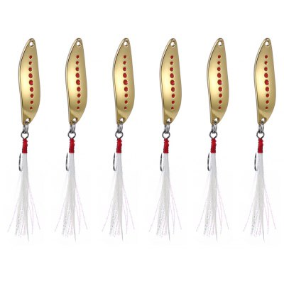6pcs Yapada 012 2g Zinc Alloy Fishing Sequin Lure with Feather