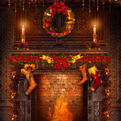 Fireplace Indoor Photography Background Cloth
