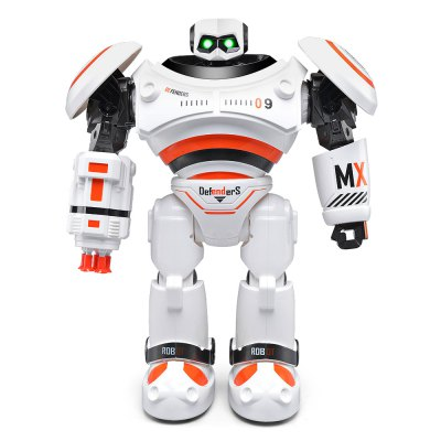 JJRC R1 Defenders Infrared Control Robot - RTRRC Robot<br>JJRC R1 Defenders Infrared Control Robot - RTR<br><br>Age: Above 8 years old<br>Brand: JJRC<br>Detailed Control Distance: 10~15m<br>Features: IR Remote Control<br>Material: Electronic Components, Plastic<br>Model Power: Built-in rechargeable battery<br>Operation Time: 18-20mins<br>Package Contents: 1 x Robot ( Battery Included ), 1 x Transmitter, 1 x USB Cable<br>Package size (L x W x H): 37.70 x 29.40 x 16.00 cm / 14.84 x 11.57 x 6.3 inches<br>Package weight: 1.7450 kg<br>Product size (L x W x H): 27.00 x 12.50 x 33.00 cm / 10.63 x 4.92 x 12.99 inches<br>Product weight: 1.4000 kg<br>Remote Control: IR Remote Control<br>Transmitter Power: 2 x 1.5V AA battery(not included)