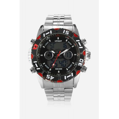 HPOLW 1510 3ATM Quartz Digital Men WatchMens Watches<br>HPOLW 1510 3ATM Quartz Digital Men Watch<br><br>Available Color: Black,Blue,Red,White<br>Band material: Steel<br>Band size: 18cm x 2cm<br>Brand: HPOLW<br>Case material: Alloy<br>Clasp type: Folding clasp with safety<br>Dial size: 4.5cm x 4.5cm x 1.8cm<br>Display type: Analog-Digital<br>Movement type: Quartz + digital watch<br>Package Contents: 1 x Watch<br>Package size (L x W x H): 15.50 x 8.00 x 2.50 cm / 6.1 x 3.15 x 0.98 inches<br>Package weight: 0.1880 kg<br>Product size (L x W x H): 18.00 x 4.50 x 1.80 cm / 7.09 x 1.77 x 0.71 inches<br>Product weight: 0.1670 kg<br>Shape of the dial: Round<br>Special features: Stopwatch, Month, Light, Day, Date, Alarm Clock<br>Watch color: Red<br>Watch mirror: Mineral glass<br>Watch style: Cool, Casual, Business, Fashion<br>Watches categories: Male table,Men