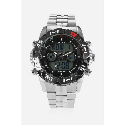 HPOLW 1510 3ATM Quartz Digital Men WatchMens Watches<br>HPOLW 1510 3ATM Quartz Digital Men Watch<br><br>Available Color: Black,Blue,Red,White<br>Band material: Steel<br>Band size: 18cm x 2cm<br>Brand: HPOLW<br>Case material: Alloy<br>Clasp type: Folding clasp with safety<br>Dial size: 4.5cm x 4.5cm x 1.8cm<br>Display type: Analog-Digital<br>Movement type: Quartz + digital watch<br>Package Contents: 1 x Watch<br>Package size (L x W x H): 15.50 x 8.00 x 2.50 cm / 6.1 x 3.15 x 0.98 inches<br>Package weight: 0.1880 kg<br>Product size (L x W x H): 18.00 x 4.50 x 1.80 cm / 7.09 x 1.77 x 0.71 inches<br>Product weight: 0.1670 kg<br>Shape of the dial: Round<br>Special features: Stopwatch, Month, Light, Day, Date, Alarm Clock<br>Watch color: Black<br>Watch mirror: Mineral glass<br>Watch style: Cool, Casual, Business, Fashion<br>Watches categories: Male table,Men
