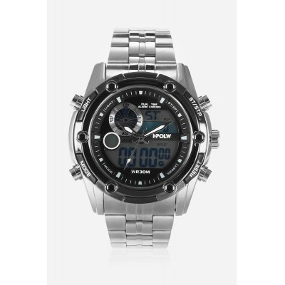 HPOLW 618 Analog-digital WatchMens Watches<br>HPOLW 618 Analog-digital Watch<br><br>Band material: Steel<br>Band size: 18cm x 2cm<br>Brand: HPOLW<br>Case material: Alloy<br>Clasp type: Folding clasp with safety<br>Dial size: 4.5cm x 4.5cm x 1.5cm<br>Display type: Analog-Digital<br>Movement type: Double-movtz<br>Package Contents: 1 x Watch ( with Package Box )<br>Package size (L x W x H): 15.00 x 7.00 x 2.50 cm / 5.91 x 2.76 x 0.98 inches<br>Package weight: 0.1920 kg<br>Product size (L x W x H): 18.00 x 4.50 x 1.50 cm / 7.09 x 1.77 x 0.59 inches<br>Product weight: 0.1710 kg<br>Shape of the dial: Round<br>Special features: Stopwatch, Date, Alarm Clock<br>Watch color: Black<br>Watch mirror: Mineral glass<br>Watch style: Cool, Fashion, Business, Casual<br>Watches categories: Male table,Men