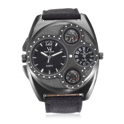 V6 Men Quartz WatchMens Watches<br>V6 Men Quartz Watch<br><br>Band material: Canvas + Leather<br>Band size: 26 x 2.5cm<br>Case material: Stainless Steel<br>Clasp type: Pin buckle<br>Dial size: 5 x 5 x 1.2cm<br>Display type: Analog<br>Movement type: Quartz watch<br>Package Contents: 1 x Watch, 1 x Box<br>Package size (L x W x H): 27.00 x 6.00 x 2.00 cm / 10.63 x 2.36 x 0.79 inches<br>Package weight: 0.1200 kg<br>Product size (L x W x H): 26.00 x 5.00 x 1.20 cm / 10.24 x 1.97 x 0.47 inches<br>Product weight: 0.0950 kg<br>Shape of the dial: Round<br>Watch style: Fashion<br>Watches categories: Men<br>Wearable length: 19 - 24cm
