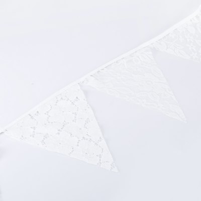 Lace Wave Flag BannerDecorative Flowers<br>Lace Wave Flag Banner<br><br>Material: Lace<br>Package Contents: 1 x Flag Banner<br>Package size (L x W x H): 22.60 x 23.00 x 6.00 cm / 8.9 x 9.06 x 2.36 inches<br>Package weight: 0.0600 kg<br>Usage: Christmas, New Year, Party, Birthday, Wedding, Valentine Gift