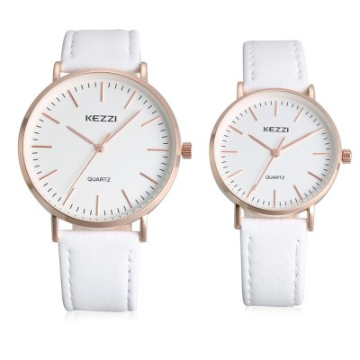 KEZZI K - 1687 Couple WatchesCouples Watches<br>KEZZI K - 1687 Couple Watches<br><br>Band material: Genuine Leather<br>Brand: Kezzi<br>Case material: Alloy<br>Clasp type: Pin buckle<br>Display type: Analog<br>Movement type: Quartz watch<br>Package Contents: 1 x Pair of Watches<br>Package size (L x W x H): 25.00 x 5.00 x 3.00 cm / 9.84 x 1.97 x 1.18 inches<br>Package weight: 0.0900 kg<br>Shape of the dial: Round<br>The female dial dimension (L x W x H): 3.00 x 3.00 x 0.50 cm / 1.18 x 1.18 x 0.20 inch<br>The female size (L x W x H): 21.00 x 2.50 x 0.50 cm / 8.27 x 0.98 x 0.20 inch<br>The female watch band dimension (L x W): 21.00 x 1.50 cm / 8.27 x 0.59 inch<br>The female watch weight: 0.025kg<br>The male dial dimension (L x W x H): 4.00 x 4.00 x 0.70 cm / 1.57 x 1.57 x 0.27 inch<br>The male watch band dimension (L x W): 24.00 x 2.00 cm / 9.45 x 0.78 inch<br>The male watch size (L x W x H): 24.00 x 3.50 x 0.50 cm / 9.45 x 1.38 x 0.20 inch<br>The male watch weight: 0.035kg<br>Watch style: Casual<br>Watches categories: Couple tables