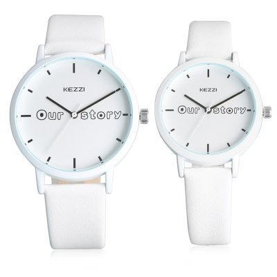 KEZZI K - 1693 Couple WatchesCouples Watches<br>KEZZI K - 1693 Couple Watches<br><br>Band material: Genuine Leather<br>Brand: Kezzi<br>Case material: Alloy<br>Clasp type: Pin buckle<br>Display type: Analog<br>Movement type: Quartz watch<br>Package Contents: 1 x Pair of Watches<br>Package size (L x W x H): 25.00 x 5.00 x 3.00 cm / 9.84 x 1.97 x 1.18 inches<br>Package weight: 0.0780 kg<br>Shape of the dial: Round<br>The female dial dimension (L x W x H): 3.00 x 3.00 x 0.50 cm / 1.18 x 1.18 x 0.20 inch<br>The female size (L x W x H): 21.00 x 2.50 x 0.50 cm / 8.27 x 0.98 x 0.20 inch<br>The female watch band dimension (L x W): 21.00 x 1.50 cm / 8.27 x 0.59 inch<br>The female watch weight: 0.019kg<br>The male dial dimension (L x W x H): 4.00 x 4.00 x 0.70 cm / 1.57 x 1.57 x 0.27 inch<br>The male watch band dimension (L x W): 24.00 x 2.00 cm / 9.45 x 0.78 inch<br>The male watch size (L x W x H): 24.00 x 3.50 x 0.50 cm / 9.45 x 1.38 x 0.20 inch<br>The male watch weight: 0.034kg<br>Watch style: Casual<br>Watches categories: Couple tables