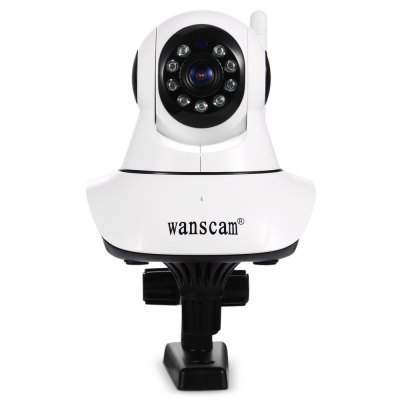 Wanscam 1.0MP 720P WiFi IP CameraIP Cameras<br>Wanscam 1.0MP 720P WiFi IP Camera<br><br>Alarm Notice: Email Photo<br>APP: E-View7<br>Audio Input: Built-in mic.<br>Audio Output: Built-in speaker<br>Backlight Compensation: Auto<br>Brand: VStarcam<br>Compatible Operation Systems: Microsoft Windows 98/ ME /2000/ XP,Windows 7,Windows 8<br>Environment: Indoor<br>FOV: 80 degree<br>Frame Rate (FPS): 25fps<br>Image Adjustment: Brightness,Color saturation,Contrast<br>Infrared Distance: 8 - 10m<br>Infrared LED: 9 LEDs<br>IP camera performance: Night Vision, Motion Detection, Interphone<br>IP Mode : Dynamic IP address, static IP address<br>Language: Danish,Dutch,English,Finnish,French,German,Itanlian,Japanese,Korean,Polish,Portuguese,Russian,Simplified Chinese,Spanish,Swedish<br>Local-storage: TF / Micro SD card up to 128GB<br>Maximum Monitoring Range: 80 degree<br>Minimum Illumination: 0.5Lux ( IR LED On ) / F 1.2<br>Mobile Access: Android,IOS<br>Motion Detection Distance: 5 - 10m<br>Network Port: RJ-45<br>Online Visitor (Max.): 6<br>Operate Temperature (?): -10 - 50 Deg.C<br>Package Contents: 1 x IP Camera, 1 x Power Adapter, 1 x 114cm USB Cable, 1 x Holder Stand, 2 x Screw, 2 x Screw Cap, 1 x English User Manual<br>Package size (L x W x H): 15.00 x 13.50 x 11.50 cm / 5.91 x 5.31 x 4.53 inches<br>Package weight: 0.3960 kg<br>Pan/Tilt-Horizontal Angle (degree) : 270 degree<br>Pan/Tilt-Vertical Angle (degree) : 90 degree<br>Pixels: 1MP<br>Product size (L x W x H): 10.50 x 9.50 x 10.00 cm / 4.13 x 3.74 x 3.94 inches<br>Product weight: 0.1980 kg<br>Protocol: DDNS,DHCP,HTTP,LAN,ONVIF,P2P,RTSP,TCP,UPNP<br>Resolution: 1280 x 720<br>S/N Ration: 48dB<br>Sensor: CMOS<br>Sensor size (inch): 1/4<br>Shape: Spherical Camera<br>Technical Feature: Pan/Tilt/Zoom, Infrared<br>Video Compression Format: H.264<br>Video format: AVI<br>Video Resolution: 720P<br>Video Standard: NTSC,PAL<br>Waterproof: No<br>Web Browser: Firefox,Google Chrome,IE,Microsoft Internet Explorer 6.0 above<br>White Balance: Auto<br>WiFi Distance : 100m with no obstacle<br>Wireless: IEEE 802.11 b/g/n<br>Working Voltage: DC 5V / 1A