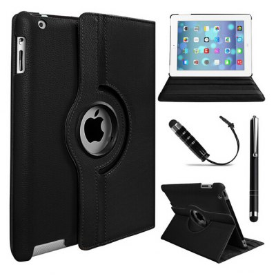 360 Degree Rotation Case Cover with Stylus for iPad 2 / 3 / 4
