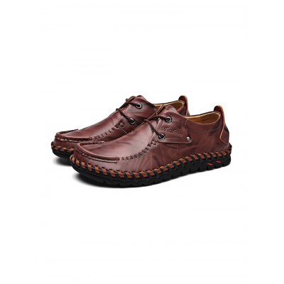 Handmade Lace-up Men Casual Leather ShoesCasual Shoes<br>Handmade Lace-up Men Casual Leather Shoes<br><br>Contents: 1 x Pair of Shoes<br>Materials: Leather<br>Occasion: Casual, Daily<br>Package Size ( L x W x H ): 34.00 x 23.00 x 12.00 cm / 13.39 x 9.06 x 4.72 inches<br>Package Weights: 0.98KG<br>Seasons: Autumn,Spring,Summer<br>Style: Leisure, Fashion, Comfortable<br>Type: Casual Shoes