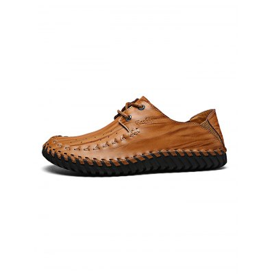 Hand-stitched Men Genuine Cowhide Casual ShoesCasual Shoes<br>Hand-stitched Men Genuine Cowhide Casual Shoes<br><br>Contents: 1 x Pair of Casual Shoes<br>Materials: Leather, Rubber<br>Occasion: Casual, Daily<br>Package Size ( L x W x H ): 33.00 x 22.00 x 11.00 cm / 12.99 x 8.66 x 4.33 inches<br>Package Weights: 0.99KG<br>Seasons: Autumn,Spring,Summer<br>Style: Leisure, Fashion, Comfortable<br>Type: Casual Shoes