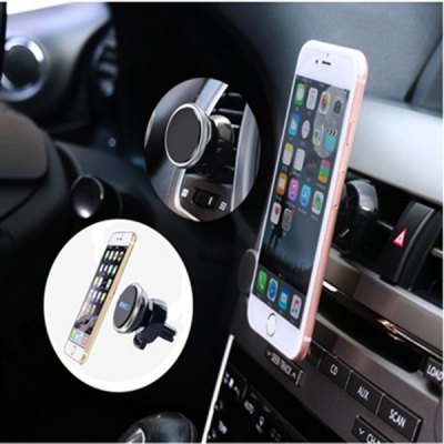 Magnetic Car Vent Phone HolderStands &amp; Holders<br>Magnetic Car Vent Phone Holder<br><br>Features: Rotatable, Adjustable Stand<br>Material: ABS, Metal<br>Package Contents: 1 x Phone Holder, 2 x Sheet<br>Package size (L x W x H): 7.00 x 6.00 x 9.00 cm / 2.76 x 2.36 x 3.54 inches<br>Package weight: 0.0700 kg<br>Product size (L x W x H): 5.70 x 4.50 x 7.70 cm / 2.24 x 1.77 x 3.03 inches<br>Product weight: 0.0500 kg<br>Type: Mount Holder, Mobile Holder, Car Stand