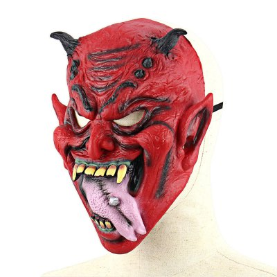 Realistic evil yaksha latex mask with stuck-out tongue...