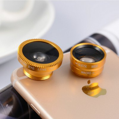 3-in-1 Mobile Photography LensPhone Lenses<br>3-in-1 Mobile Photography Lens<br><br>Features: Lens with Case<br>Lens type: Fish-Eye Lens,Macro Lens,Wide-Angle-Lens<br>Magnification ?Fish eye Lens ): 180 degree<br>Magnification ?Wide Angle Lens ): 0.67X<br>Material: Optical glass, Metal<br>Package Contents: 1 x Fisheye Lens, 1 x Macro Lens, 1 x Wide Angle Lens, 1 x Clip, 3 x Cover<br>Package size (L x W x H): 6.00 x 4.00 x 4.00 cm / 2.36 x 1.57 x 1.57 inches<br>Package weight: 0.0700 kg<br>Product size (L x W x H): 5.00 x 3.00 x 3.00 cm / 1.97 x 1.18 x 1.18 inches<br>Product weight: 0.0500 kg