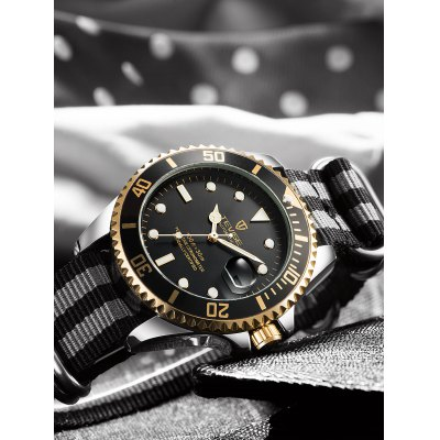 TEVISE T801 Mechanical WatchMens Watches<br>TEVISE T801 Mechanical Watch<br><br>Band material: Nylon<br>Band size: 24 x 2cm<br>Brand: Tevise<br>Case material: Stainless Steel<br>Clasp type: Pin buckle<br>Dial size: 4.3 x 4.3 x 1.4cm<br>Display type: Analog<br>Movement type: Mechanical watch<br>Package Contents: 1 x Watch, 1 x Box<br>Package size (L x W x H): 10.00 x 10.00 x 5.00 cm / 3.94 x 3.94 x 1.97 inches<br>Package weight: 0.3300 kg<br>Product size (L x W x H): 24.00 x 4.30 x 1.40 cm / 9.45 x 1.69 x 0.55 inches<br>Product weight: 0.1000 kg<br>Shape of the dial: Round<br>Special features: Date, Luminous<br>Watch mirror: Mineral glass<br>Watch style: Fashion<br>Watches categories: Men<br>Water resistance : Life water resistant<br>Wearable length: 18.5 - 22cm
