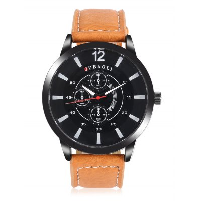 JUBAOLI A622 Men Quartz WatchMens Watches<br>JUBAOLI A622 Men Quartz Watch<br><br>Band material: Leather<br>Band size: 24.5 x 2cm<br>Brand: Jubaoli<br>Case material: Stainless Steel<br>Clasp type: Pin buckle<br>Dial size: 4.5 x 4.5 x 1cm<br>Display type: Analog<br>Movement type: Quartz watch<br>Package Contents: 1 x Watch, 1 x Box<br>Package size (L x W x H): 25.00 x 5.00 x 2.00 cm / 9.84 x 1.97 x 0.79 inches<br>Package weight: 0.0700 kg<br>Product size (L x W x H): 24.50 x 4.50 x 1.00 cm / 9.65 x 1.77 x 0.39 inches<br>Product weight: 0.0460 kg<br>Shape of the dial: Round<br>Watch style: Fashion<br>Watches categories: Men<br>Wearable length: 19 - 23cm