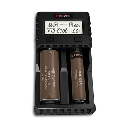 Miboxer C2 - 3000 Rechargeable Battery ChargerChargers<br>Miboxer C2 - 3000 Rechargeable Battery Charger<br><br>Bluetooth: No<br>Charging Cell Type: Lithium Ion, Ni-MH, NiCd<br>Circuit Detection: No<br>Compatible: 22500, 21700, 20700, 18700, 18650, 18500, 18490, 18350, 22650, 25500, 26500, SC, D, C, AAAA, AAA, AA, A, 26650, 17670, 17650, 13450, 12650, 12500, 12340, 10500, 10440, 10350, 10340, 13500, 13650, 14350, 17500, 17350, 16650, 16500, 16340 (RCR123), 14650, 14500, 14430<br>Fast Charging Function: Yes<br>Indicator: No<br>Input Current: 2A<br>Input Voltage: DC 5 - 12V<br>LCD Screen: Yes<br>Output Current: Li-ion maxium 2 x 1.5A, Ni-MH / Ni-Cd 2 x 1A<br>Output Voltage: 4.2V / 1.48V<br>Over Charging Protection: Yes<br>Over Current Protection: Yes<br>Over Discharging Protection: Yes<br>Over Voltage Protection: Yes<br>Package Contents: 1 x Charger, 1 x EU Adapter, 1 x English User Manual<br>Package size (L x W x H): 17.00 x 11.00 x 10.00 cm / 6.69 x 4.33 x 3.94 inches<br>Package weight: 0.4200 kg<br>Plug: EU adapter<br>Product size (L x W x H): 14.40 x 8.00 x 4.65 cm / 5.67 x 3.15 x 1.83 inches<br>Product weight: 0.2850 kg<br>Protected: Yes<br>Protected Circuit: No<br>Rechargeable: Yes<br>Reverse Polarity Protection: No<br>Short Circuit Protection: No<br>Type: Battery Charger Kit<br>USB Output Function: No