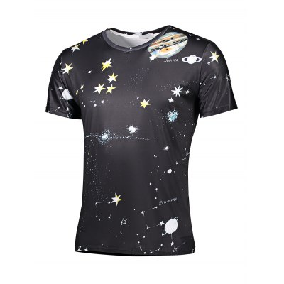 Cool Stars Printed Round Neck Short Sleeves T Shirt