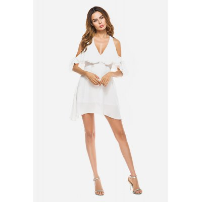 Elegant Falbala Cold Shoulder White Dress